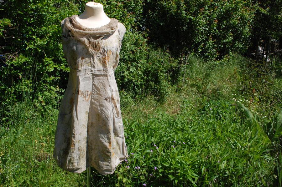Pflanzengefärbtes Leinen Kleid Upcycling Größe M